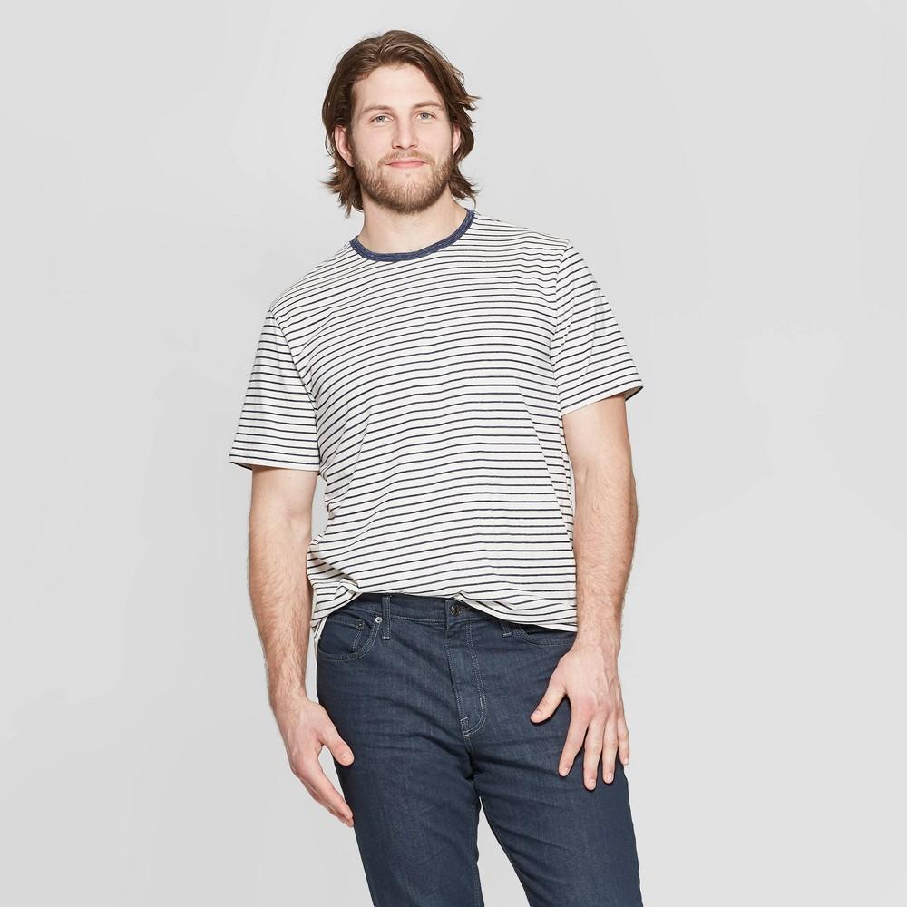 Men's Big & Tall Striped Standard Fit Short Sleeve Novelty T-Shirt - Goodfellow & Co White 4XB