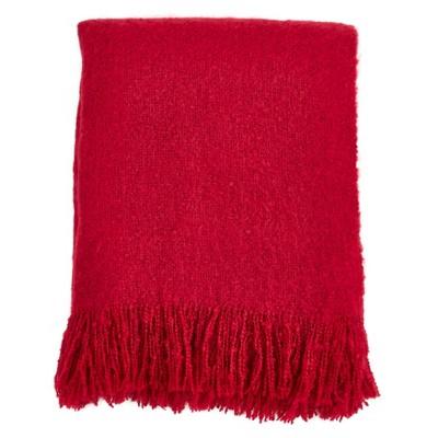 Faux Mohair Throw Blanket Red - Saro Lifestyle