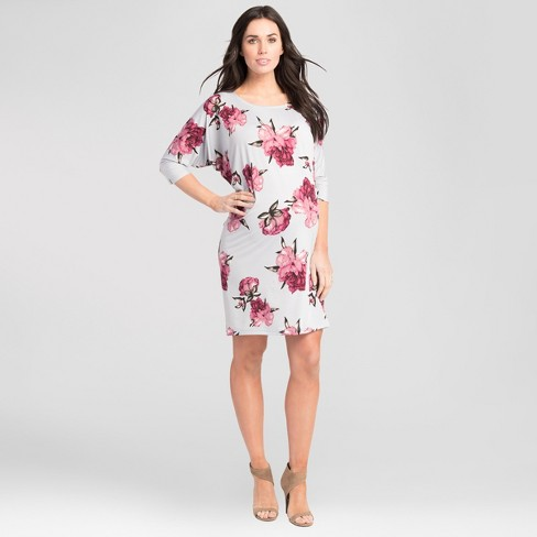 Maternity Floral Print Batwing Dress - Expected by Lilac - Silver - image 1 of 3