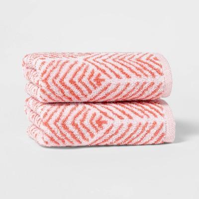 2pk Chevron Hand Towel Set Coral - Threshold™