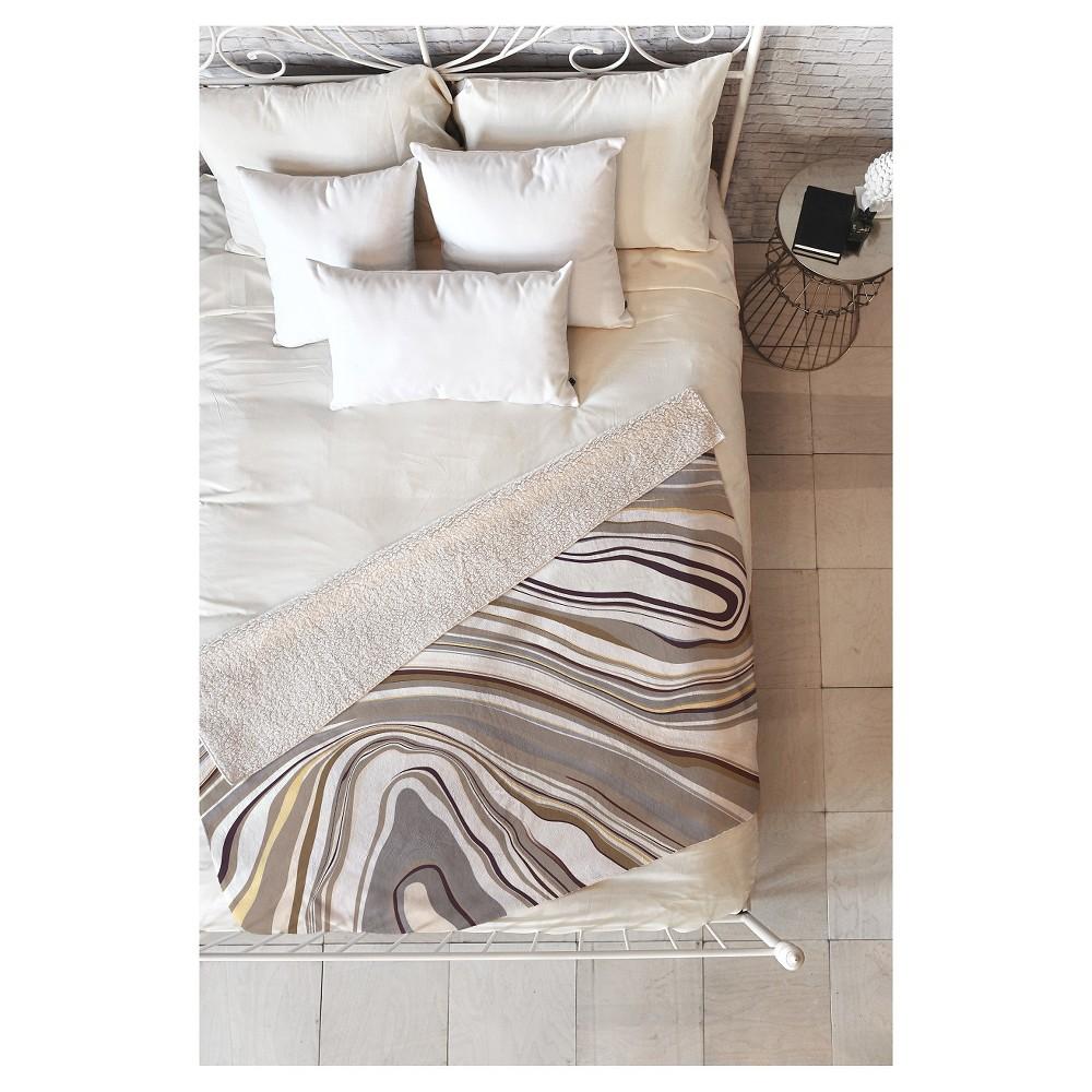 Gray Geometric Jacqueline Maldonado Marble Neutral Sherpa Throw Blanket (50X60) - Deny Designs