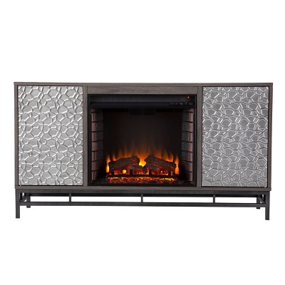 Dernal Electric Fireplace with Media Storage Gray - Aiden Lane