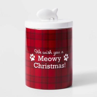 Ceramic Meowy Christmas Treat Jar Red and White - Wondershop™