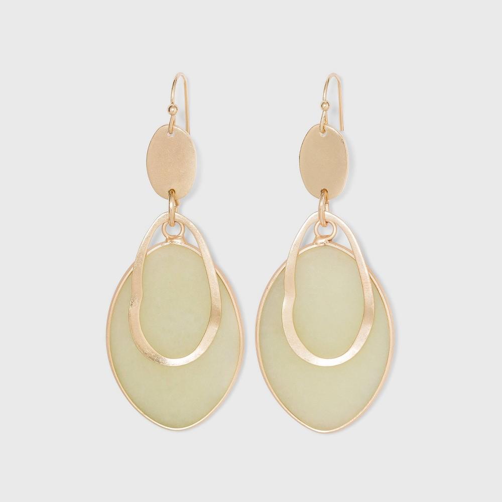 Semi Precious Jade With Wavy Gold Cutout Drop Earrings Universal Thread 8482 Jade