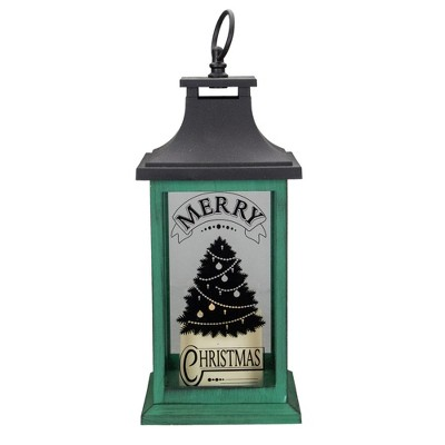 """Northlight 12"""" Green and Black LED Candle With Christmas Tree Tabletop Lantern"""