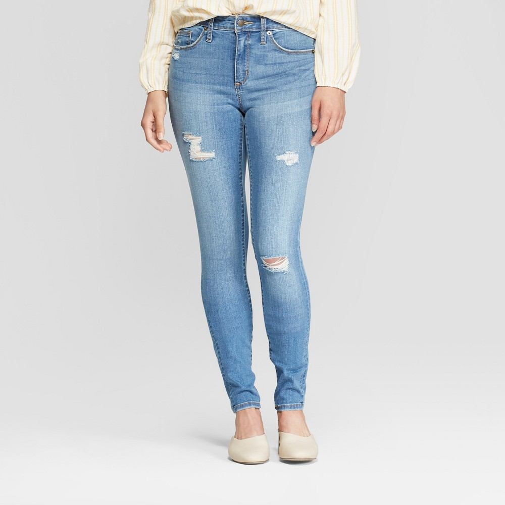 Women's High-Rise Skinny Jeans - Universal Thread Medium Wash 6 Long, Blue
