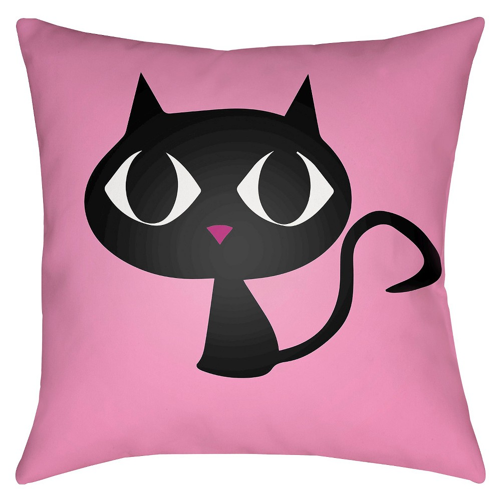 Pink Black Cat Throw Pillow 18