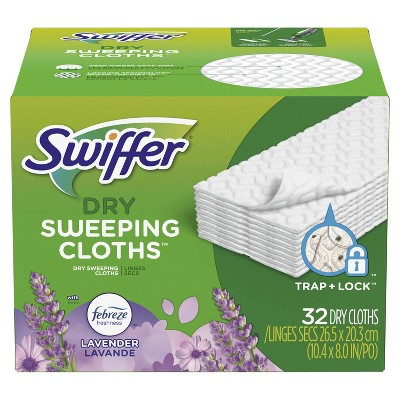Swiffer Sweeper Dry with Febreze Lavender Vanilla & Comfort Sweeping Pad Multi Surface Refills for Dusters Floor Mop - 32ct