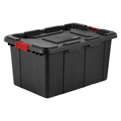 Sterilite 27 Gal Industrial Tote Black with Red Latches