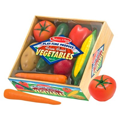 Melissa & Doug Playtime Produce Vegetables Play Food Set With Crate (7pc)