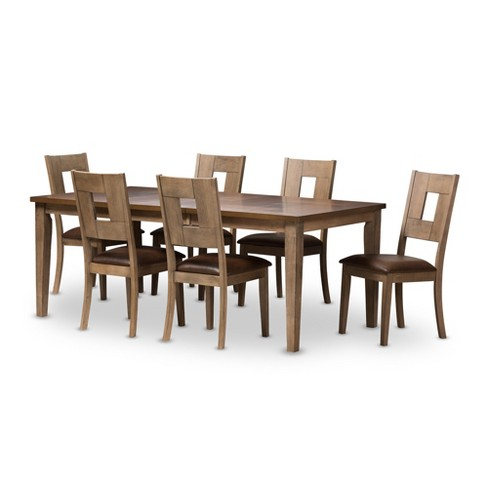 Baxton Studio 7pc Gillian Shabby Chic Country Cottage Weathered 2 Tone Finishing Dining Set With Extendable Table Brown