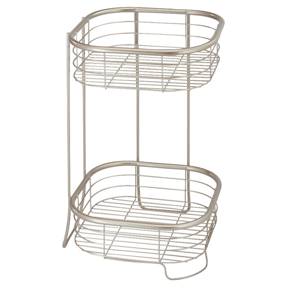 "Image of ""15""""x9"""" Square Free Standing or Shower Storage Shelves Silver - InterDesign"""
