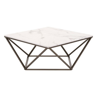 """Modern Faux Marble 36"""" Coffee Table - Antique Brass - ZM Home"""