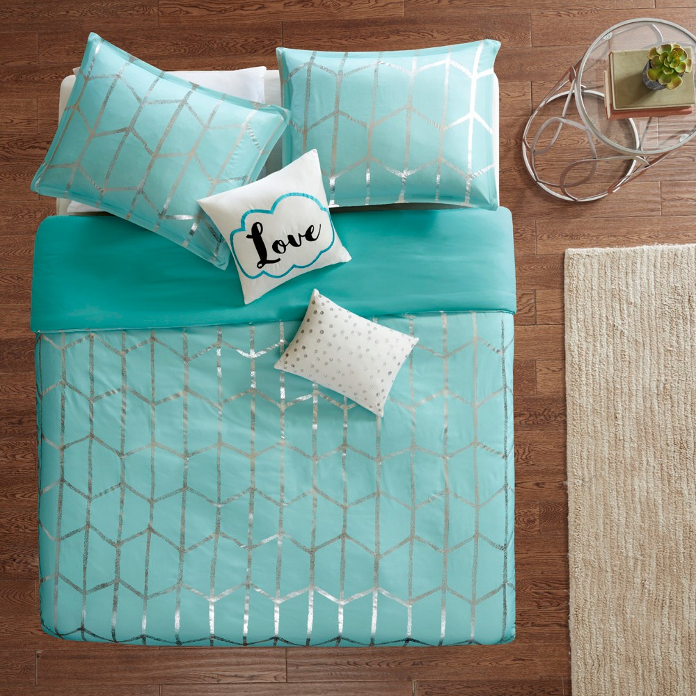 Image of 5pc Full/Queen Arielle Printed Duvet Cover Set Aqua/Silver