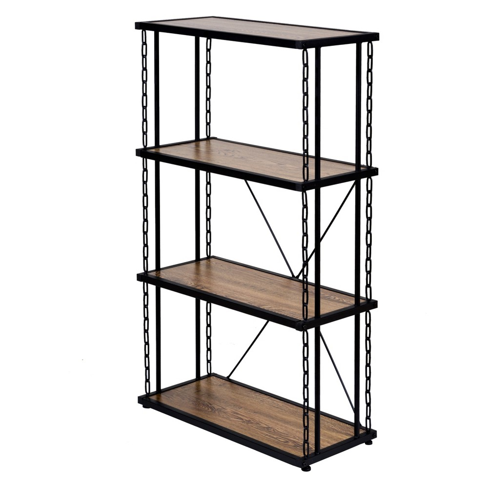 "Image of ""45"""" Folsom Ridge 4Tier Book Shelf Black Steel Hickory Oak Wood Grain Finish Brown - OneSpace"""