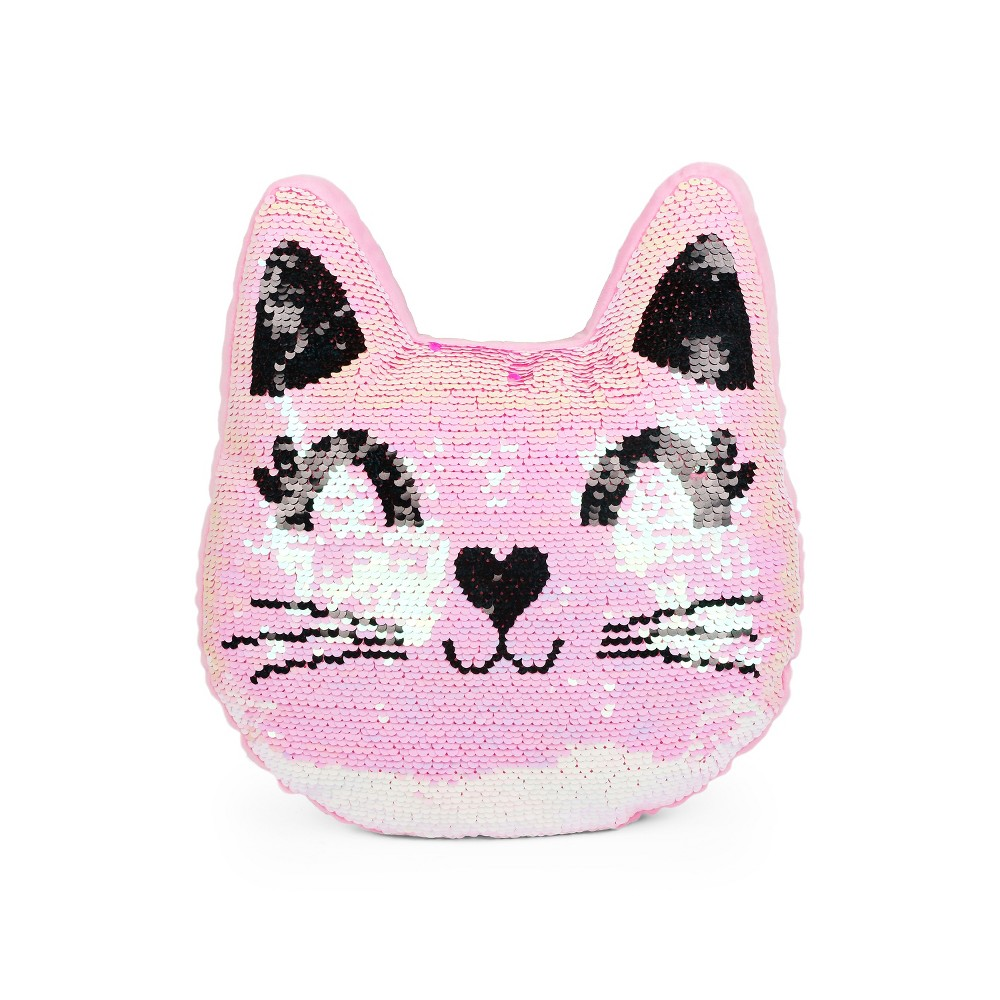 Image of Sequins Cat Throw Pillow Pink