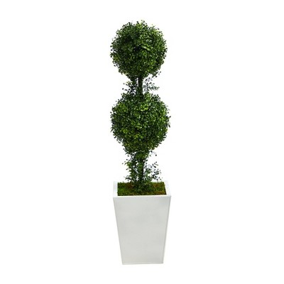 """3.5"""" Indoor/Outdoor Boxwood Double Ball Topiary Artificial Tree in Metal Planter White/Green - Nearly Natural"""