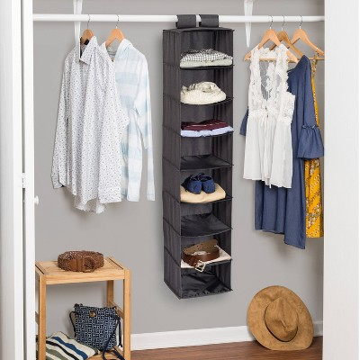 Honey-Can-Do 8 Shelf Hanging Soft Sided Organizer Canvas Gray