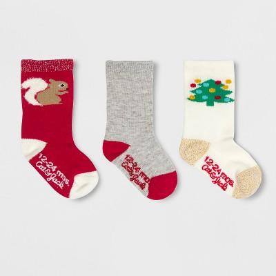 Baby Girls' 3pk Squirrel Crew Socks - Cat & Jack™ Red 12-24M
