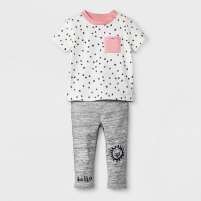 Baby Girls' 2pc Crop Pocket Tee and Ruffle Waist Pants Set - Cat & Jack™ Almond Cream/Gray 3-6M
