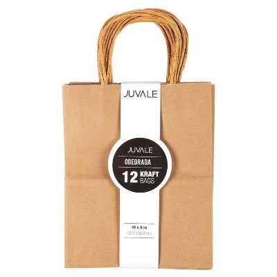 Juvale Medium Kraft Paper Gift Bags with Handles (Brown, 8 x 10 Inches, 12 Count)