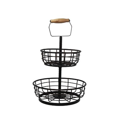 Iron 2-Tiered Fruit Basket with Handle Black - Mesa
