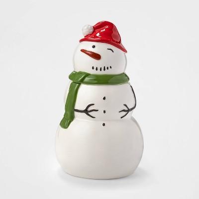 Glazed Earthenware Snowman Figural Cookie Jar - Threshold™
