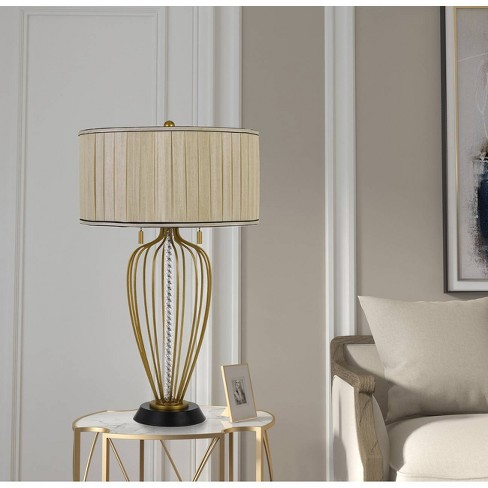 60W X 2 Laval Metal Table Lamp Antique Brass/Black - Cal Lighting