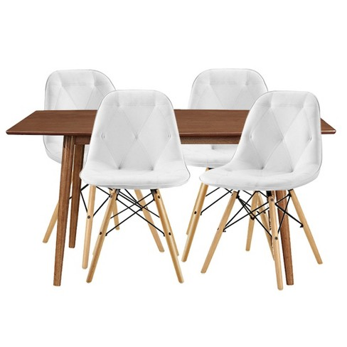 5pc Mid Century Dining Group With 4 Tufted Eames Chairs Whiteacron