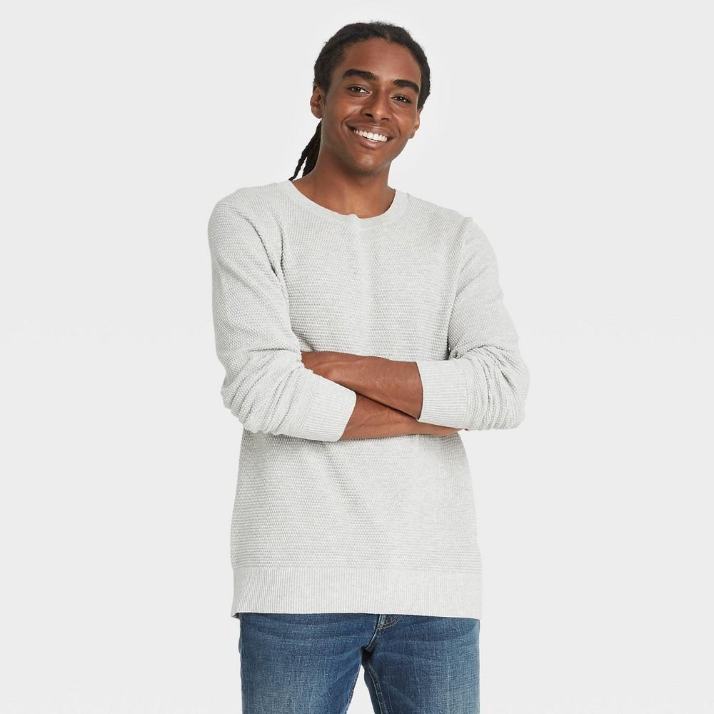 Men 39 S Standard Fit Crew Neck Light Weight Pullover Sweater Goodfellow 38 Co 8482 Light Gray M