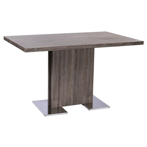 Zenith Contemporary Dining Table with Brushed Stainless Steel Base and Gray Walnut Veneer Finish - Armen Living - image 1 of 5
