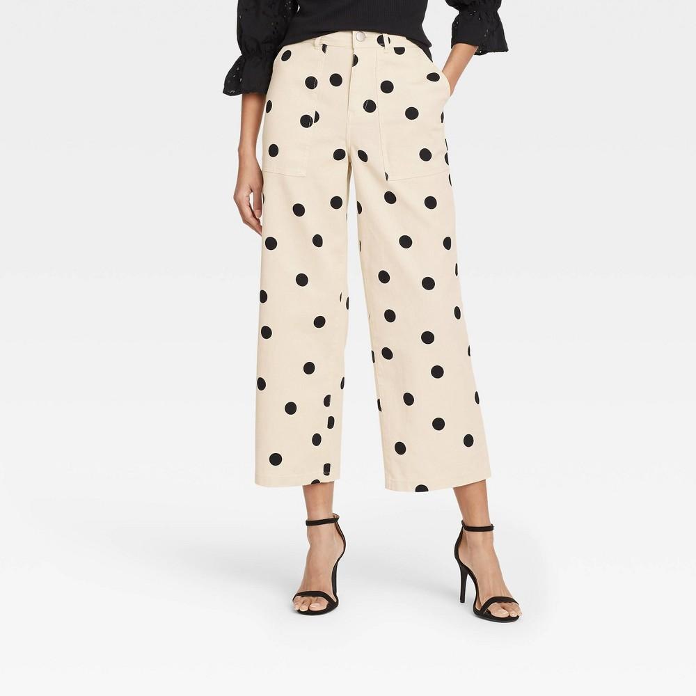 Women 39 S Polka Dot High Rise Wide Leg Pants Who What Wear 8482 Cream 8