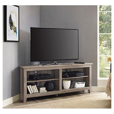 "Simple Open Storage Shelf Corner TV Stand for TVs up to 65"" Driftwood - Saracina Home"