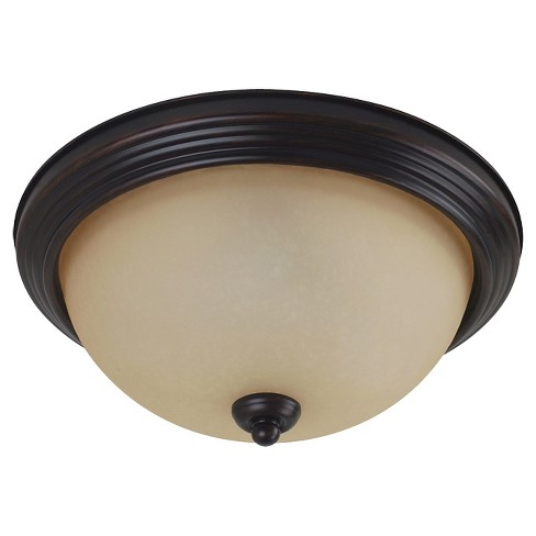 Sea Gull Lighting Medium LED Flush Mount - Burnt Sienna with Amber Scavo Glass - image 1 of 1