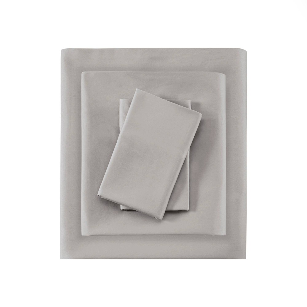 Image of Queen 525 Thread Count Solid Cotton Sheet Set Gray