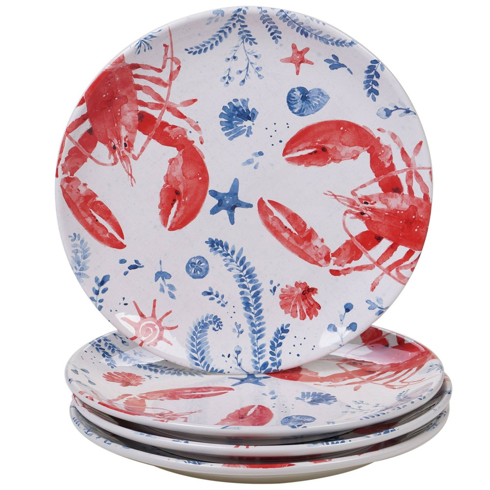 "Image of ""10.8"""" 4pk Earthenware Nautical Life Lobster Dinner Plates Red - Certified International, White Red Blue"""