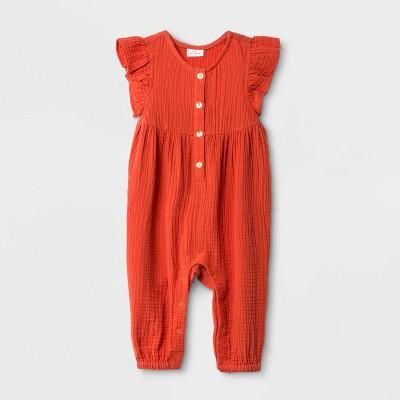 Baby Girls' Gauze Romper - Cat & Jack™ Orange 0-3M