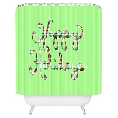 Lisa Argyropoulos Happy Holidays Shower Curtain Green - Deny Designs