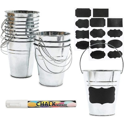 Bright Creations 29 Pack Galvanized Metal Buckets with Chalkboard Label and Marker (Assorted Sizes)