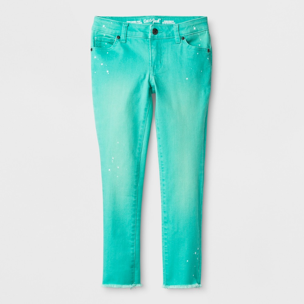 Girls' Super Skinny Cropped Jeans - Cat & Jack Green 10