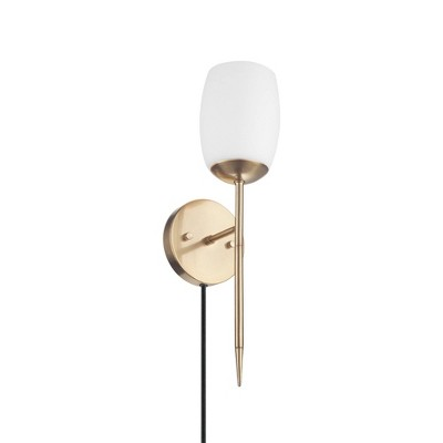 Plug-in or Hardwire Wall Sconce with Opal Glass Shade Matte Brass - Globe Electric