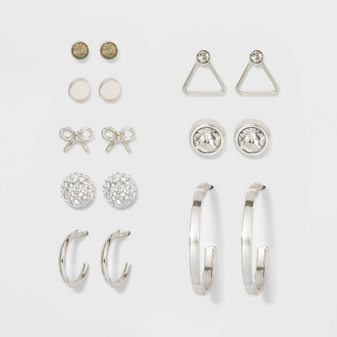 Triangle and Bow Eight Studs Earring Set 8pc - A New Day™ Silver - image 1 of 2