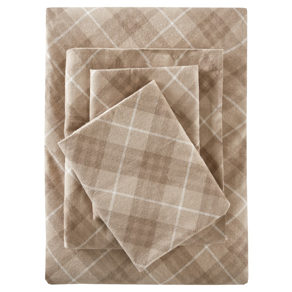 Inverness Angle Flannel Sheet Set (Queen) Tan, Tan Plaid