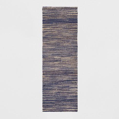 "2'4""X7' Runner Design Flatweave Woven Tie Dye Indigo - Threshold™ - image 1 of 3"