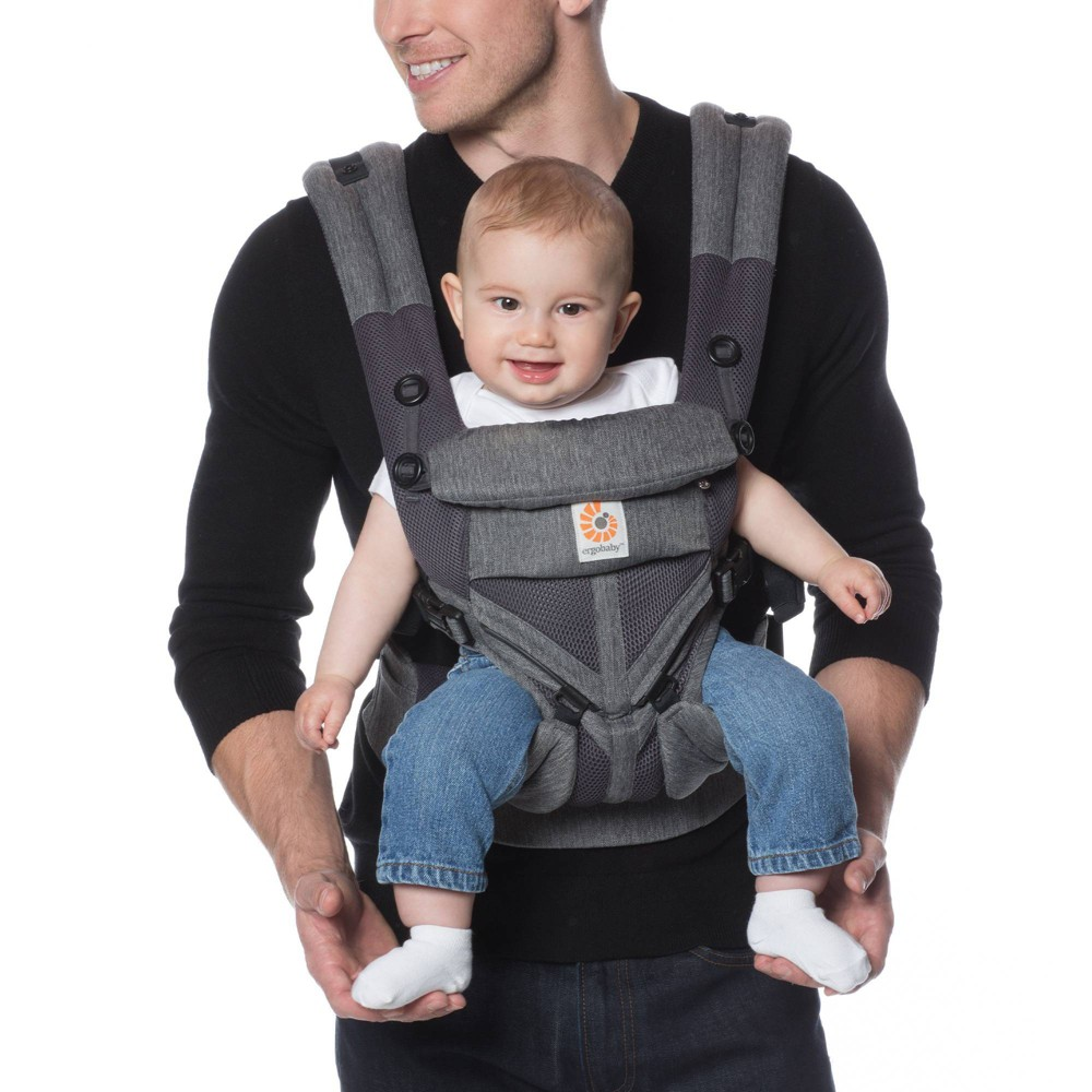 Image of Ergobaby Omni 360 Cool Air Mesh All Carry Positions Baby Carrier - Charcoal Black, Grey Black