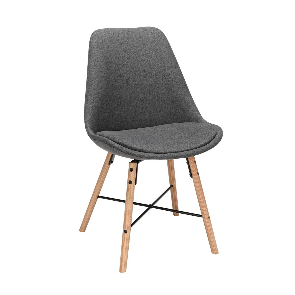 "Image of ""18"""" Set of 2 Fabric Mid-Century Modern Dining Chairs with Fabric Seat Cushion Beechwood Legs Dark Gray - OFM"""