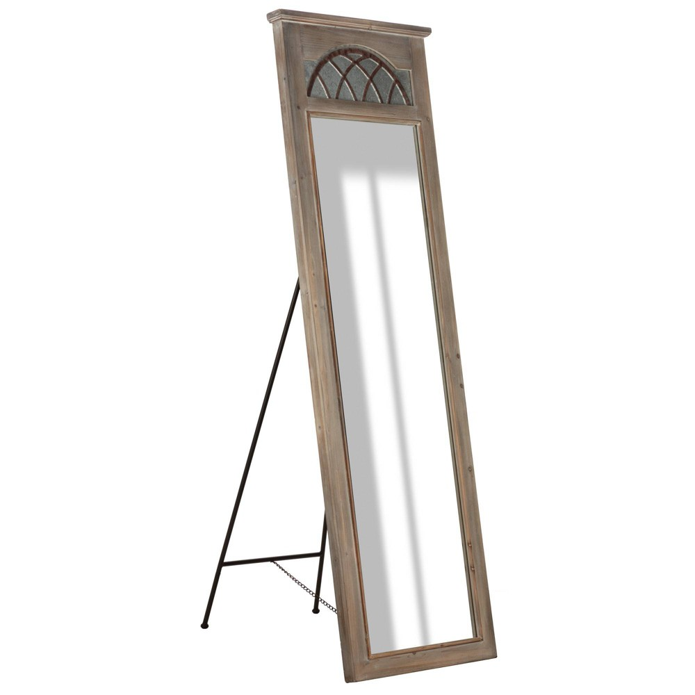 "Image of ""26"""" x 67"""" Rustic Galvanized Full length Standing Floor Mirror with Easel Wood/Metal/Gray - Patton Wall Decor, Gray Brown"""
