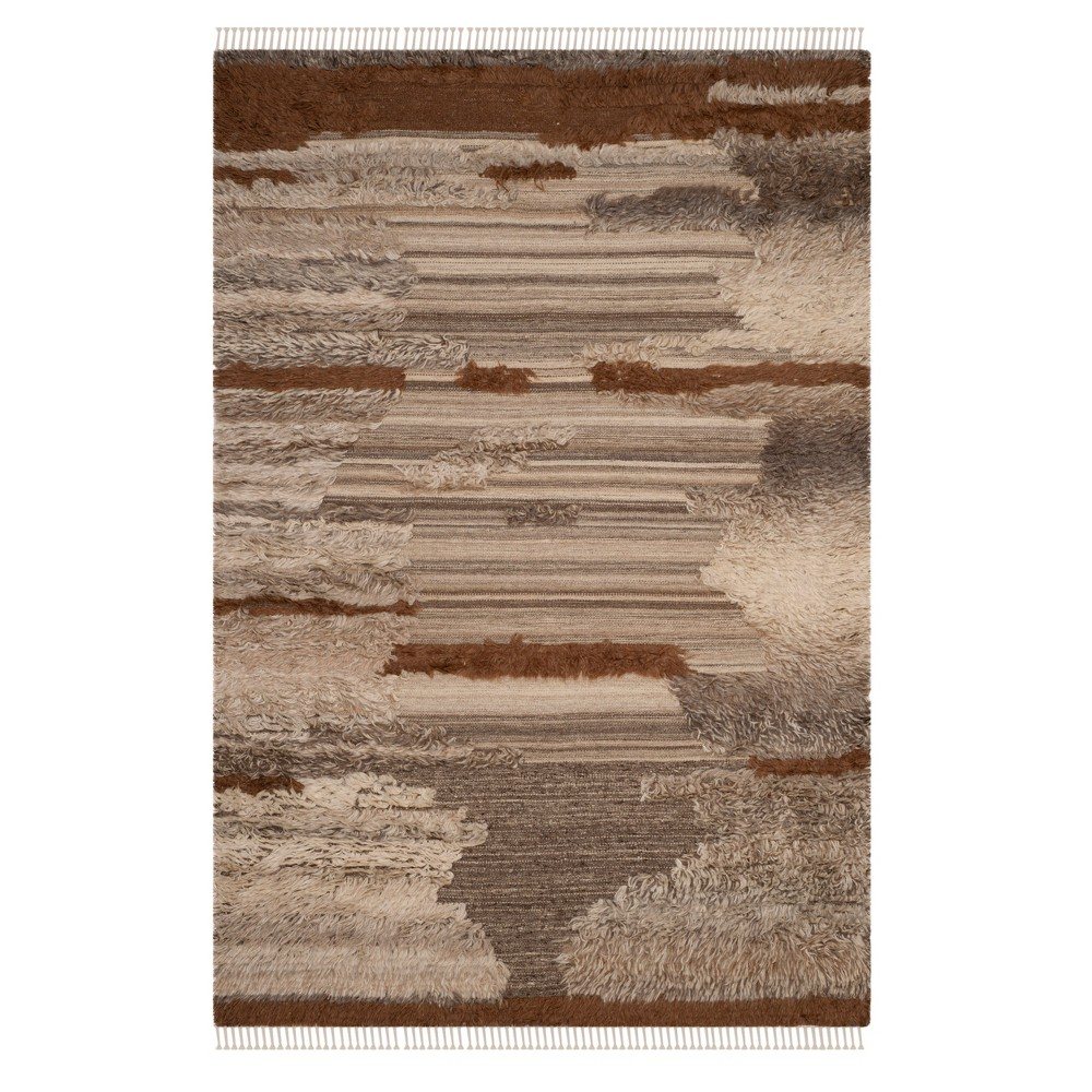 Gray/Brown Camouflage Knotted Area Rug 6'X9' - Safavieh, Gray Brown