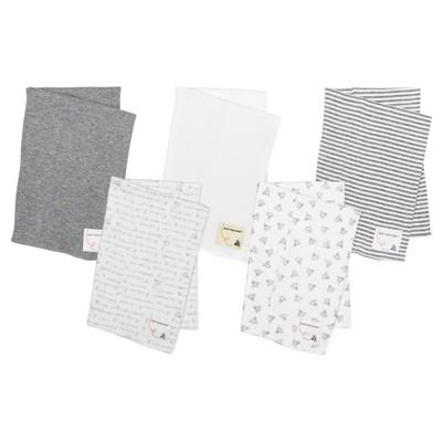Burt's Bees Baby® Organic 5pk Burp Cloth Set - Heather Gray