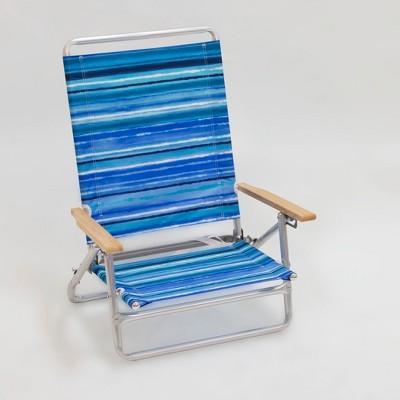 Outdoor Portable Beach Chair - Blue/White Stripe - Evergreen
